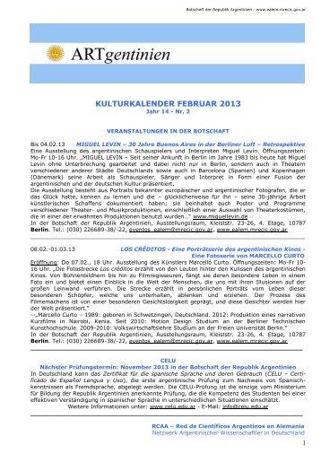 Kulturkalender Februar 2013 - Embajada de la República Argentina ...