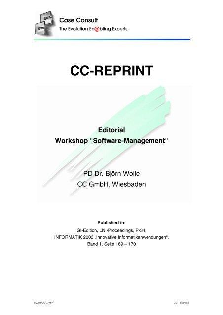 "Editorial Workshop ""Software-Management"" [77 KB] - CC GmbH"