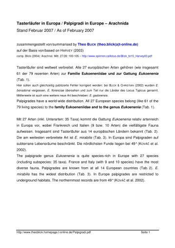Tasterläufer / Palpigradi in Europa / Europe - Theo Blick - T-Online
