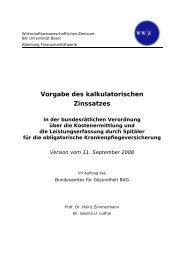 Vorgabe des kalkulatorischen Zinssatzes - Bundesamt für Gesundheit