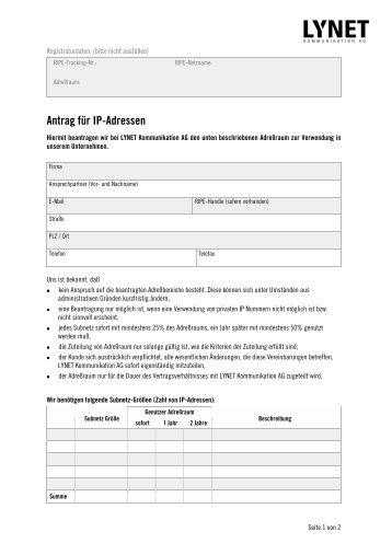 Antrag für IP-Adressen PDF · 34 KB - LyNet