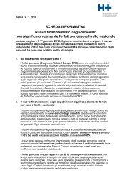 SCHEDA INFORMATIVA Nuovo finanziamento degli ospedali - Hplus