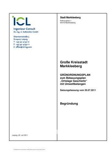 Ortslage Gaschwitz - Erlaeuterungsbericht - Stadt Markkleeberg