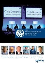 13th World Business Dialogue Universität zu Köln 17. und 18 ... - OfW