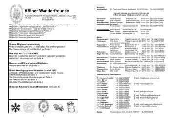 Mitgliederzeitschrift 1. Quartal 2013 - Kölner Eifelverein e.V.