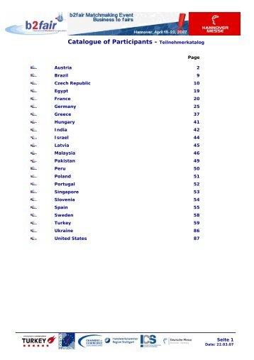Catalogue of Participants - Teilnehmerkatalog