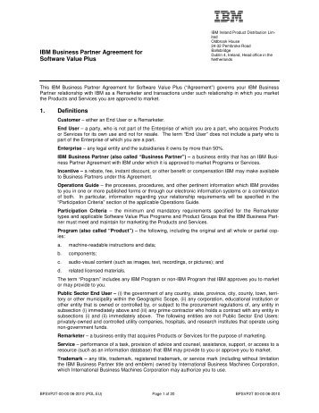 ibm business partner agreement for software value plus 1