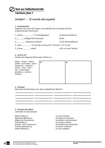 Unidad 1 – El mundo del español Test zur ... - Ernst Klett Verlag