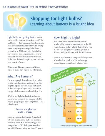 Shopping for light bulbs? - Consumer Information - Federal Trade ...