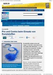 Pro und Contra beim Einsatz von Kunststoffen - Erstellt mit der ...