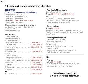 Adressen und Telefonnummern im Überblick www.best-bottrop.de E ...