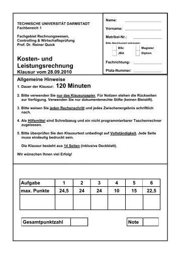 Kosten - Technische Universität Darmstadt