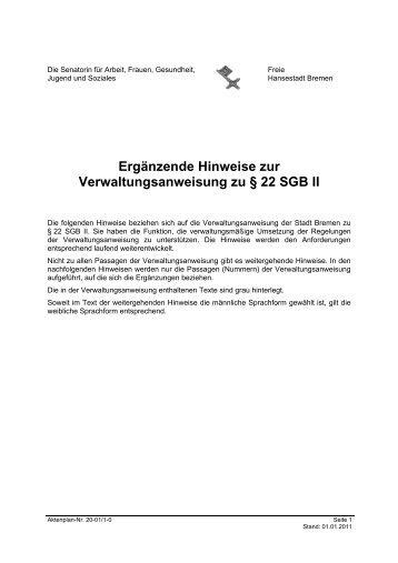 Ergänzende Hinweise zur Verwaltungsanweisung zu § 22 SGB II