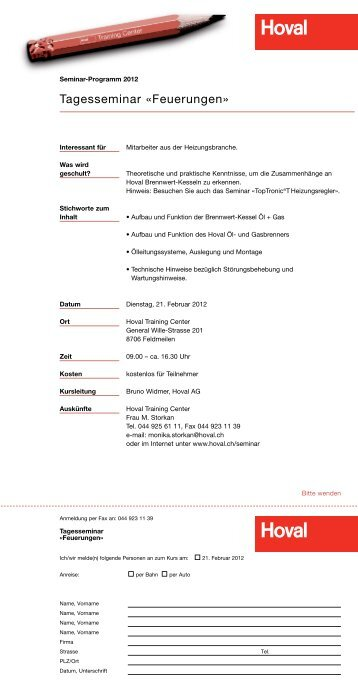 Seminare 2012 - Hoval Herzog AG