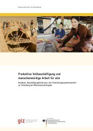 Produktive Vollbeschäftigung und menschenwürdige Arbeit für ... - GIZ