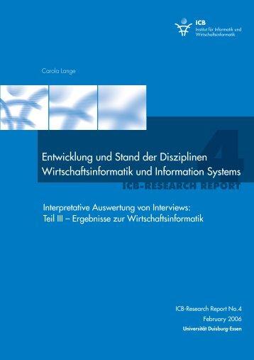 Entwicklung und Stand der Disziplinen Wirtschaftsinformatik und ...