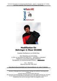 Modifikation für Behringer ® Mixer DX2000 - Krankenhausradio ...