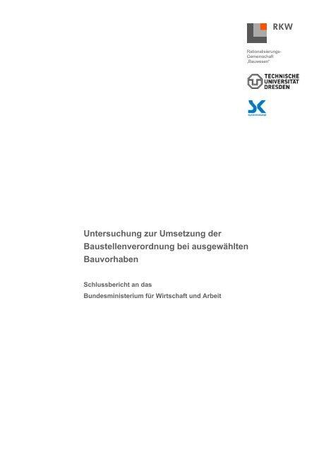 Untersuchung zur Umsetzung der Baustellenverordnung bei ...