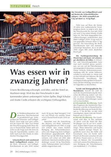 Was essen wir in zwanzig Jahren? - Agrifood Consulting GmbH