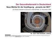 Gesundheitsmarkt in Deutschland - GV-Partner Akademie