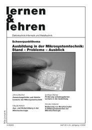 Ausbildung in der Mikrosystemtechnik: Stand ... - Lernen & Lehren