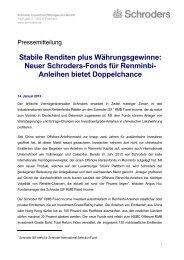 Stabile Renditen plus Währungsgewinne: Neuer Schroders-Fonds für