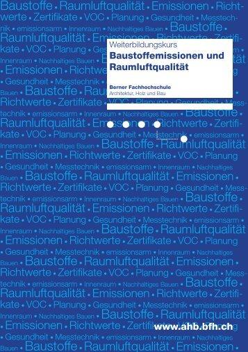 Programm - Hochschule für Architektur, Holz und Bau AHB - Berner