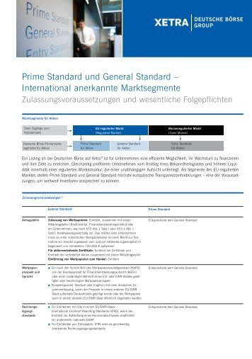 Prime Standard und General Standard – International ... - Xetra