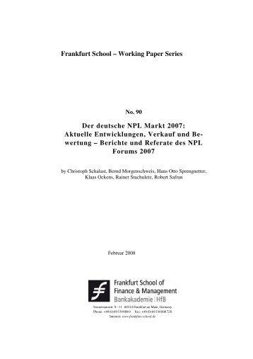 Der deutsche NPL Markt 2007 - Frankfurt School of Finance ...