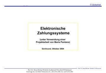 Elektronische Zahlungssysteme - Prof. Dr. Heinz-Michael Winkels