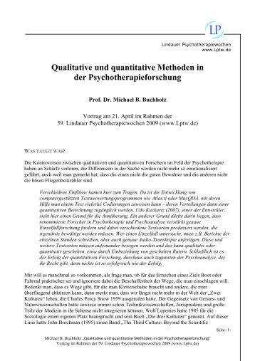 Qualitative und quantitative Methoden in der Psychotherapieforschung