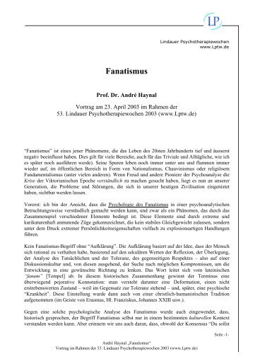 Fanatismus (pdf) - Lindauer Psychotherapiewochen