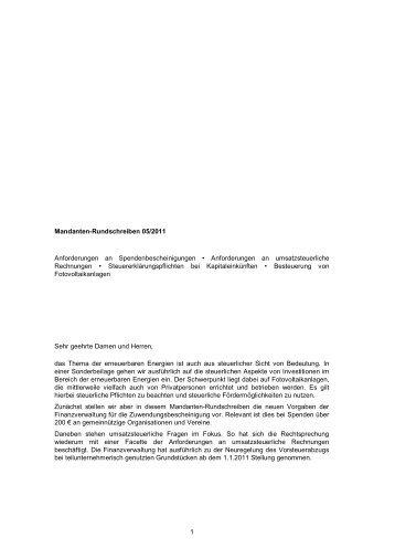 1 Mandanten-Rundschreiben 05/2011  ... - Mader & Peters