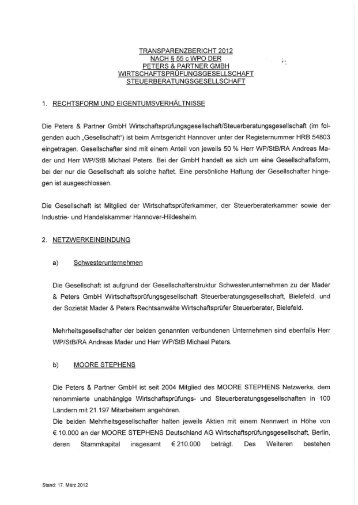 Download Transparenzbericht - Mader & Peters