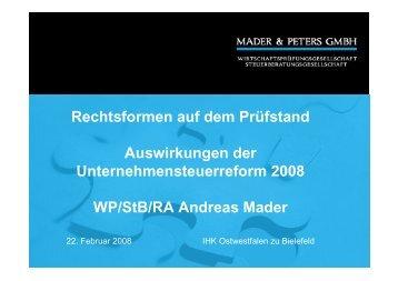 """Vortrag zum Thema """"Rechtsformen auf dem ... - Mader & Peters"""