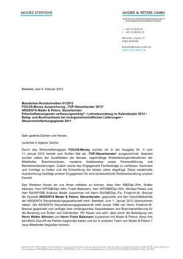 1 Bielefeld, den 9. Februar 2012 Mandanten ... - Mader & Peters