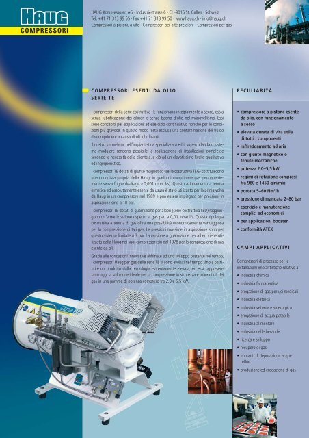 Compressore a stantuffi TE - HAUG Kompressoren AG