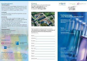 Vom Molekül zum Medikament - Life Science Center Düsseldorf