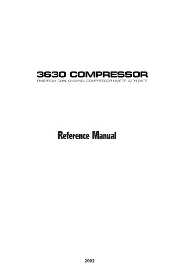 3630 Compressor - Reference Manual - Alesis