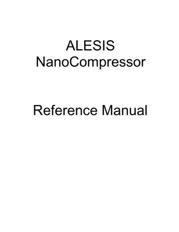 ALESIS NanoCompressor Reference Manual