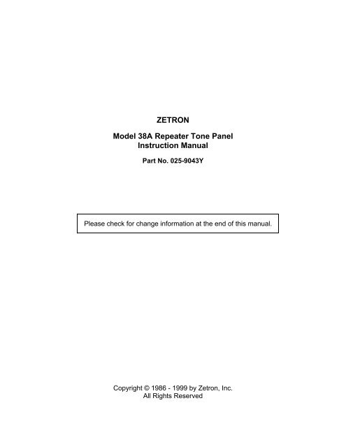 ZETRON Model 38A Repeater Tone Panel Instruction Manual