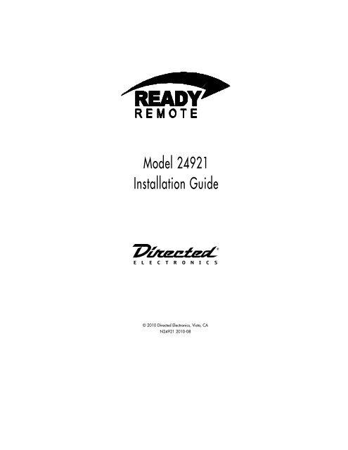 model 24921 installation guide  ready remote