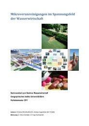 Mikroverunreinigungen im Spannungsfeld der Wasserwirtschaft