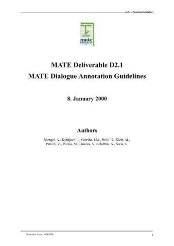 MATE Deliverable D2.1 MATE Dialogue ... - Andreas Mengel