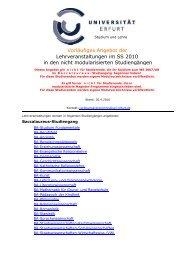 Lehrveranstaltungen im SS 2010 in den nicht ... - Universität Erfurt