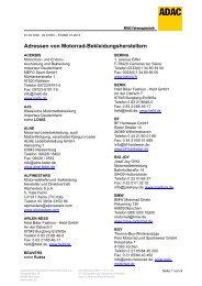 Adressen von Motorrad-Bekleidungsherstellern - ADAC
