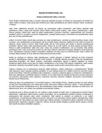 MAGNA INTERNATIONAL INC. Kodex profesionální etiky a chování ...