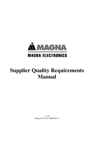Supplier Quality Requirements Manual Magna International Inc