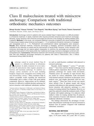 approaches to correction of class iii skeletal malocclusion This case report describes a surgical orthodontic case that used the recently introduced surgery-first approach to correct a severe skeletal class iii malocclusion.