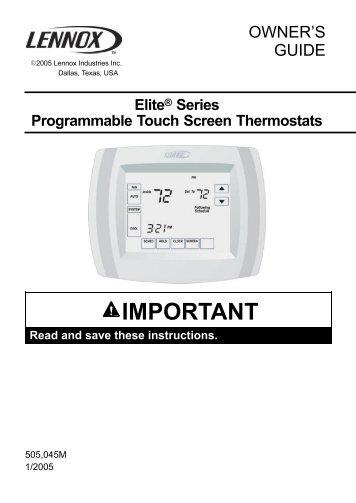 lennox thermostat manual. lennox elite touchscreen thermostat manual l